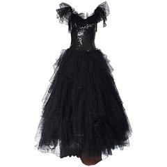 Incredible Vintage David Fielden Black Silk Sequin + Tulle British Ball Gown