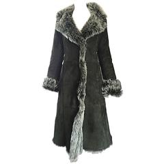 Vintage Italian Hunter Forest Green Lamb Shearling Leather Fur Jacket Coat