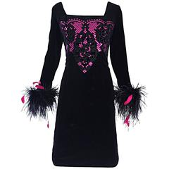 Albert Nipon for I Magnin Vintage Black and Pink Sequin Ostrich Feather Dress