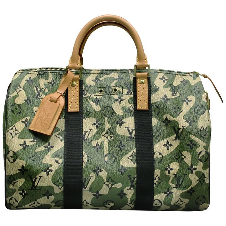 1a7dbe452490 Louis Vuitton Speedy 35 Camouflage Monogramouflage Handbag in Box For Sale