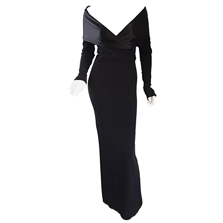 Elegant Jean Paul Gaultier Vintage Black Crepe Jersey Off Shoulder 1990s Gown 1