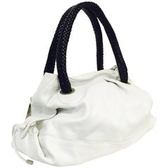 New Calamassi White Cervo Textured Leather Tote W Black Woven Leather Handles