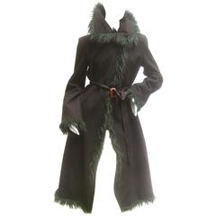 Emporio Armani Black Wool Faux Fur Trim Coat Made in Italy