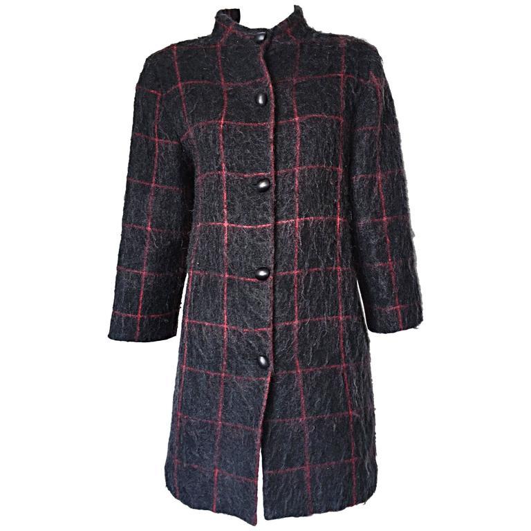 Vintage Geoffrey Beene Beene Bag Grey + Red Plaid Mohair Wool Swing Jacket Coat