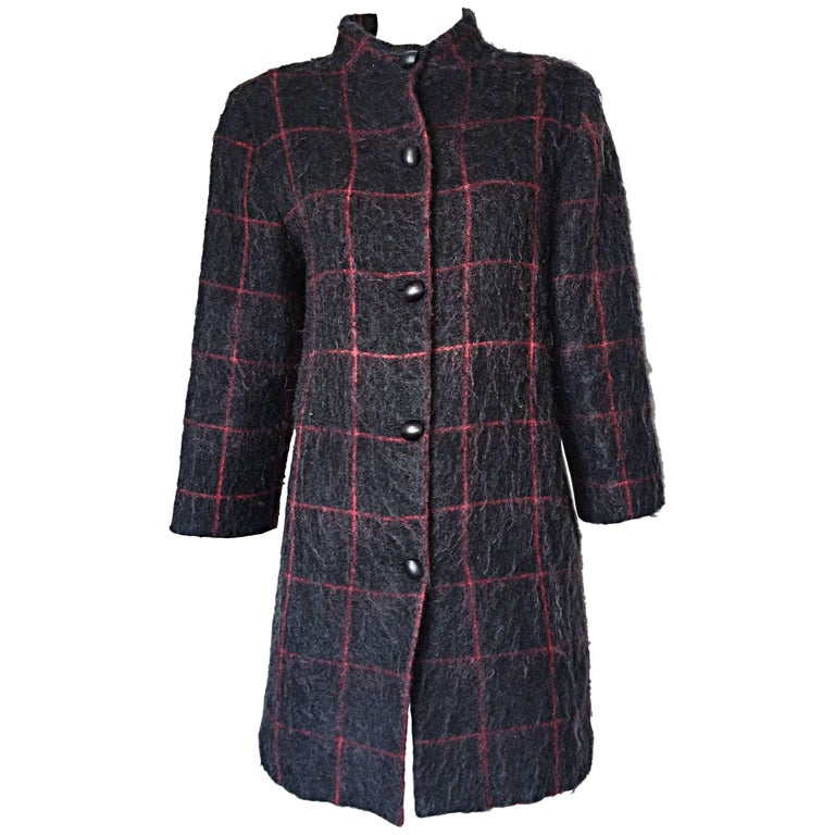 Vintage Geoffrey Beene Beene Bag Grey + Red Plaid Mohair Wool Swing Jacket Coat For Sale