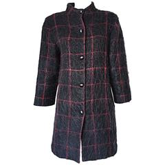 Vintage Geoffrey Beene Beene Bag Grey + Red Plaid Mohair Wool Swing Jacket Coat