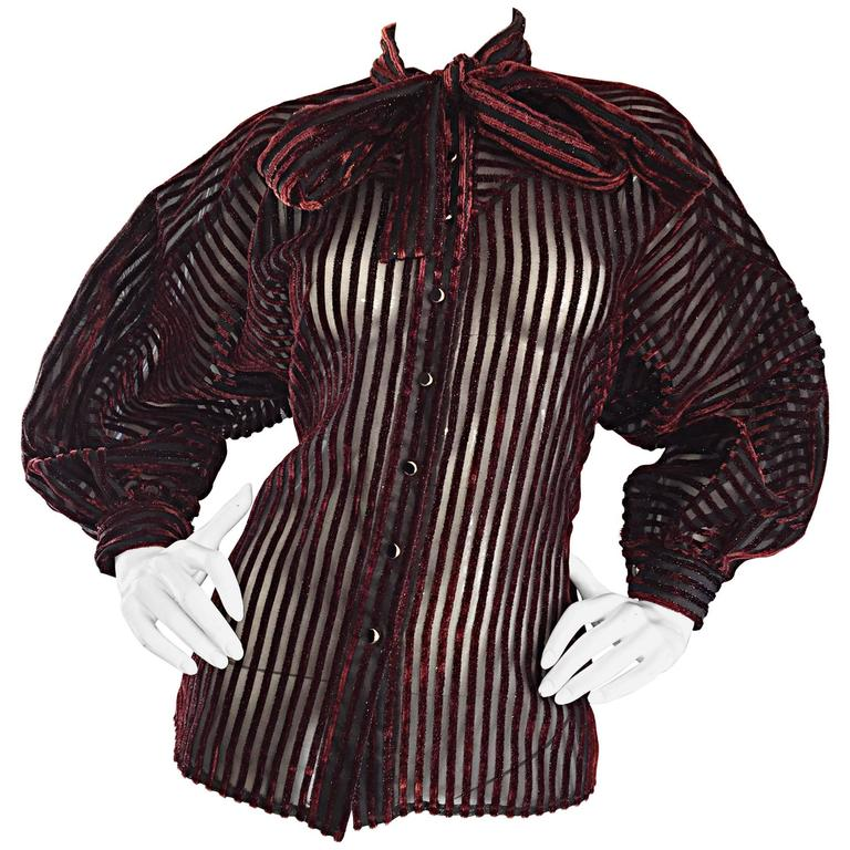 Vintage Nina Ricci Couture Black + Burgundy Silk Cut - Out Semi Sheer Blouse  1