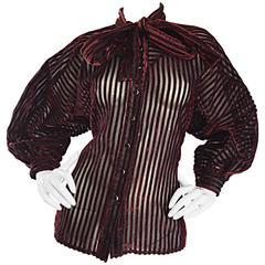 Vintage Nina Ricci Couture Black + Burgundy Silk Cut - Out Semi Sheer Blouse