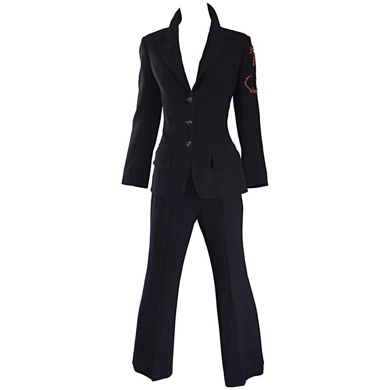 Spectacular Vintage Christian Lacroix Black Beaded Lizard Le Smoking Pant Suit
