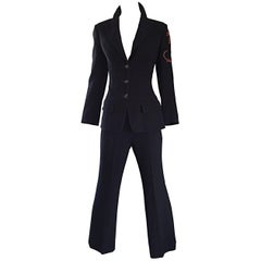 Spectacular Vintage Christian Lacroix Black Beaded Lizard Le Smoking Pant Suit