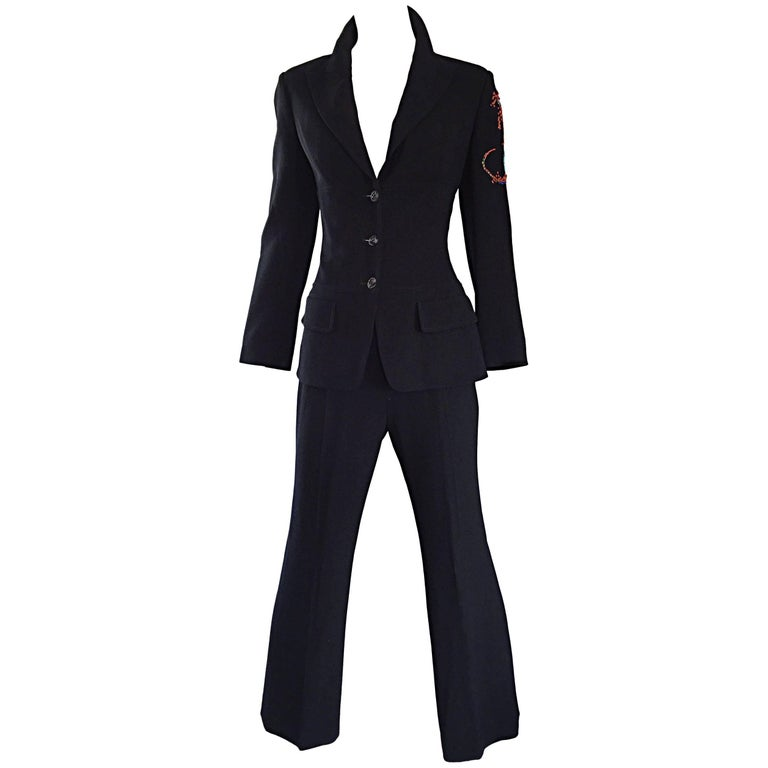 Spectacular Vintage Christian Lacroix Black Beaded Lizard Le Smoking Pant Suit For Sale