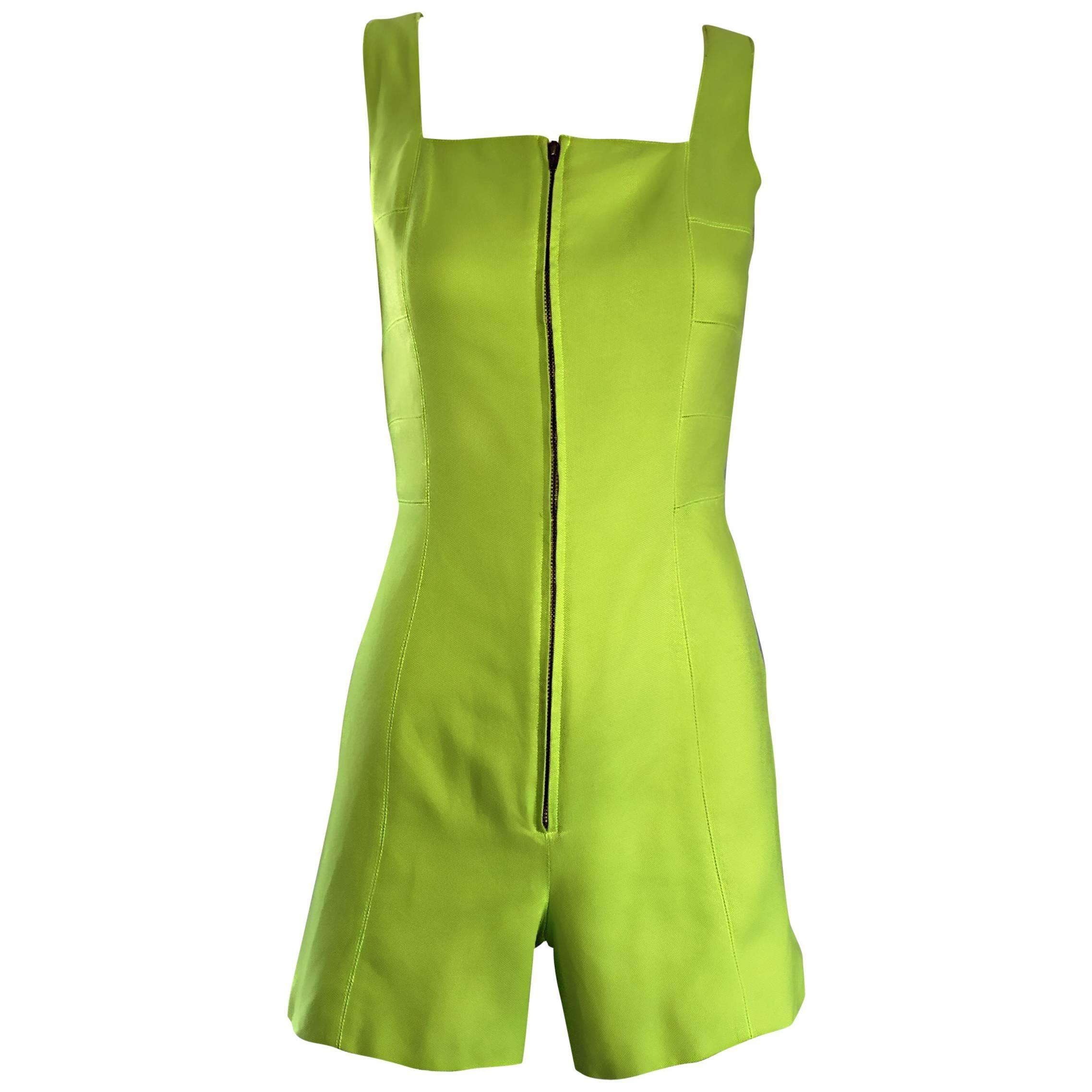 Rare Vintage Claude Montana Neon Green Linen + Cotton Romper Jumpsuit Onesie