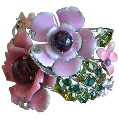 Philippe Ferrandis Floral Enamel, Semi Precious, Glass and Crystal Cuff