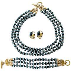 St John Triple Strand Glass Stone Necklace + Bracelet + Earrings Set Parure