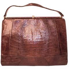 60s Brown Reptile Handbag