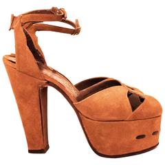 70's Brown Suede Platform