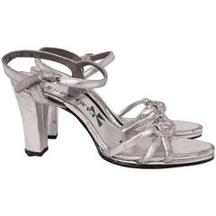 70s Silver Metallic Sandal Heels
