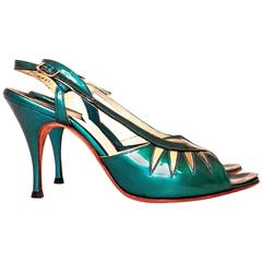 60s Green Patent Leather Slingback heel