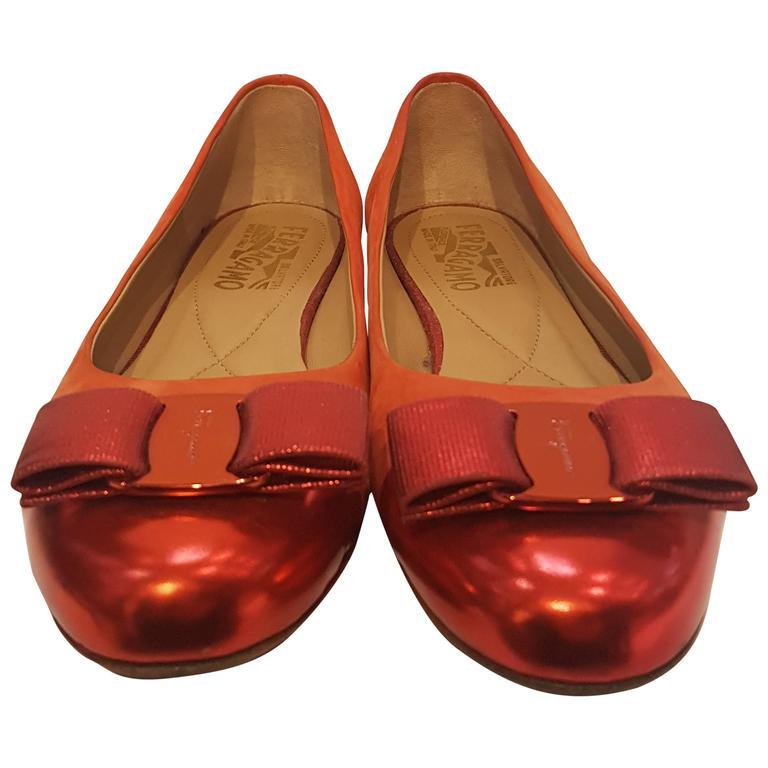 Salvatore Ferragamo Red Ballerina For Sale