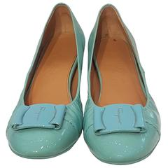 Salvatore Ferragamo Light blue varnish leather ballerina