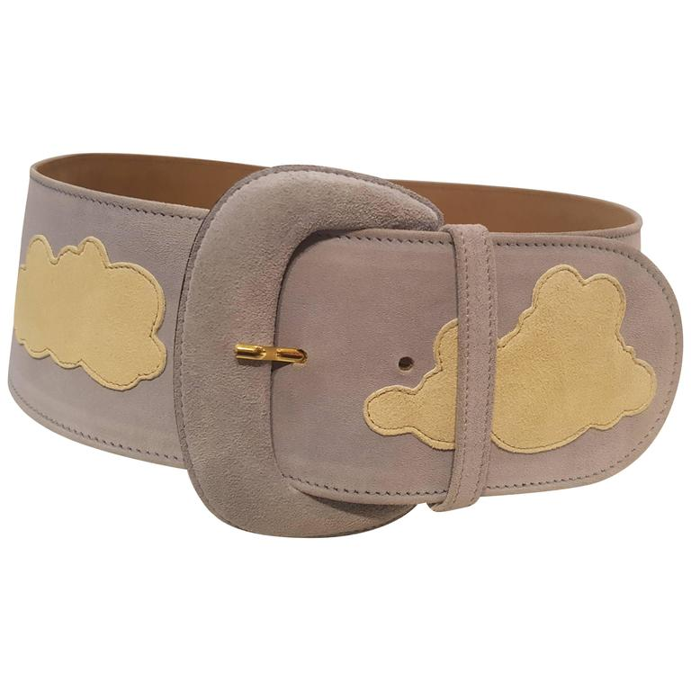 Moschino light blu white clouds NWOT belt For Sale