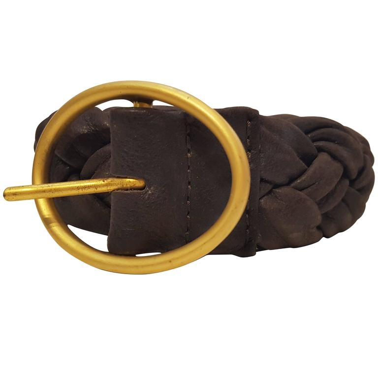 Orciani Brown leather vintage belt For Sale