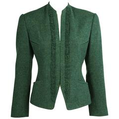Hermes Forest Green Zip Front Jacket Skirt Suit