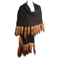 Black Cashmere Wrap with Sable Tails