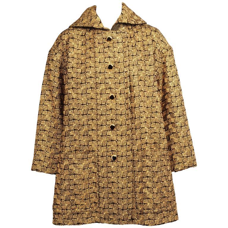 Geoffrey Beene Metallic Gold and Black Swing Jacket