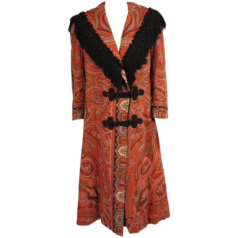 Colorful Hand Made Paisley Shawl Coat with Black Silk Fringe, circa 1910 1
