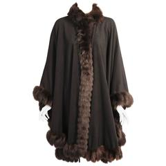 Yves Saint Laurent Fourreres Black Cashmere and Mink Cape Wrap