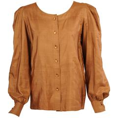 Yves Saint Laurent Haute Couture Caramel Colored Silk Blouse