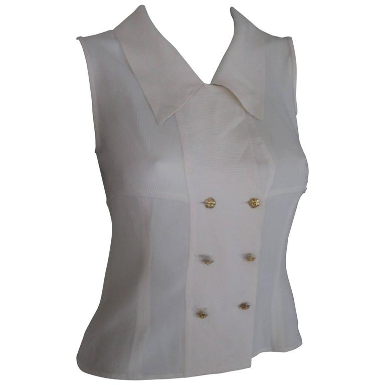 chic chanel sleeveless blouse size xs-s For Sale