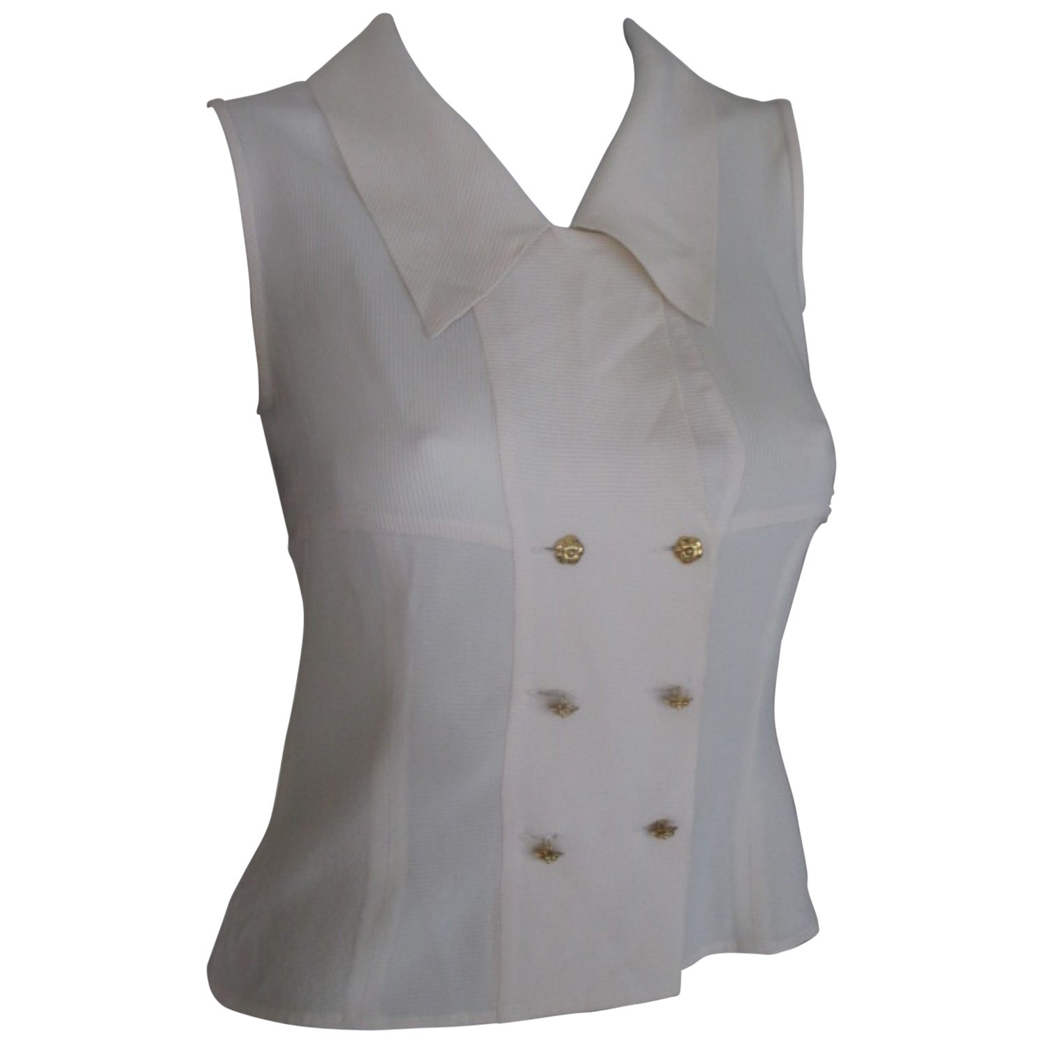 Chanel Sleeveless Blouse with Gold Flower Buttons