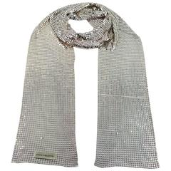 Paco Rabanne Vintage Silver Mesh Jersey Scarf VIP Gift