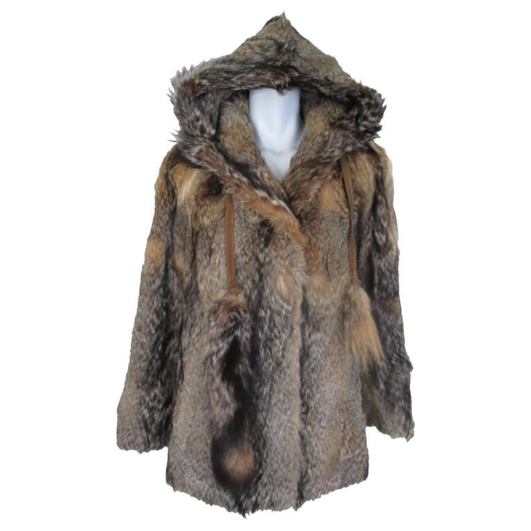 Coyote Fur Coat >> Hooded Vintage Coyote Fur Coat
