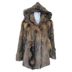 Hooded Vintage Coyote Fur Coat