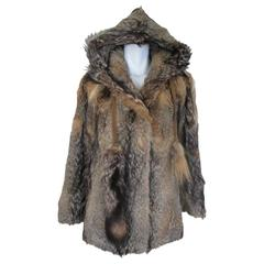 hooded vintage coyote fur coat