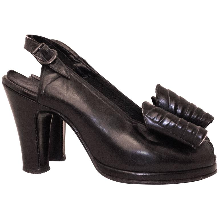 40s Black Slingback Heel with Oversized Bow