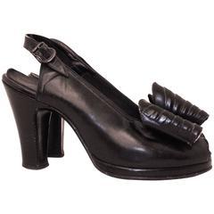 40s Black Slingback Heel with Oversized Bow