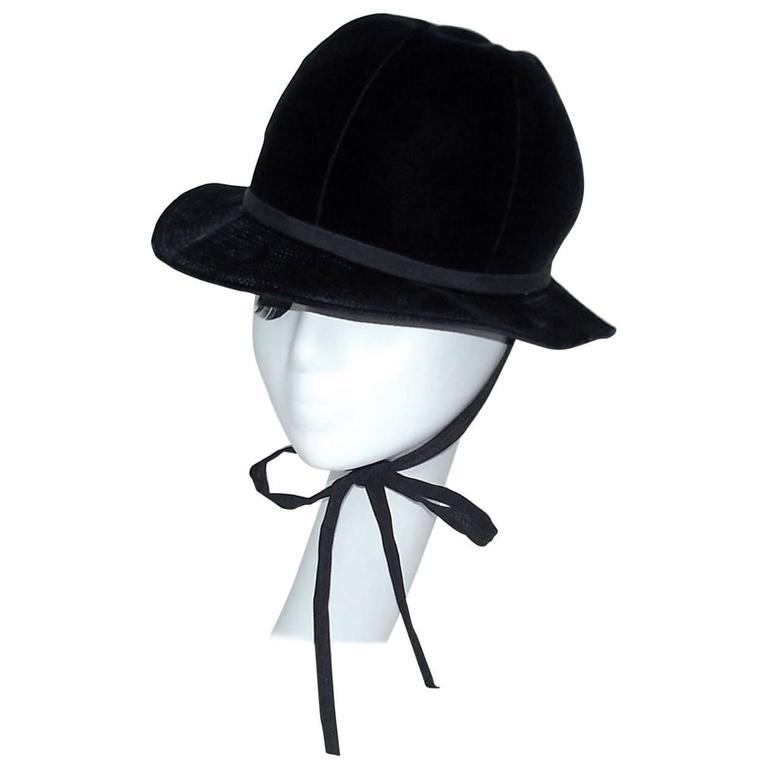 1960's Adolfo Blue Velvet Bucket Style Hat For Saks Fifth Avenue  For Sale