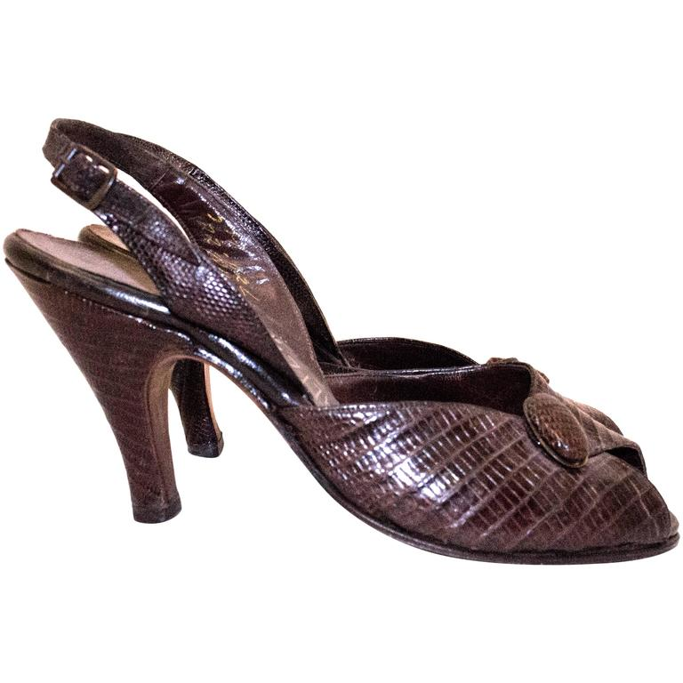 50s Reptile Sling Back Peep-toe Heels For Sale
