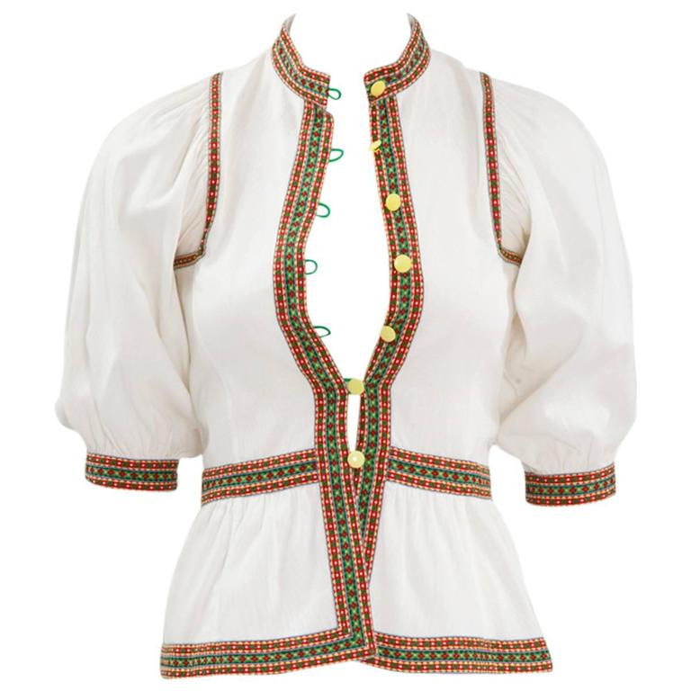 Very Rare Yves Saint Laurent Peasant Top, Spring-Summer 1977 1
