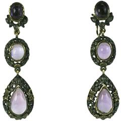 Late 19th Century Antique Amythest Drop Earrings