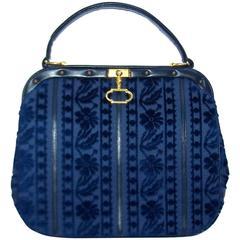 Precious 1950's Roberta Di Camerino Blue Cut Velvet & Leather Handbag