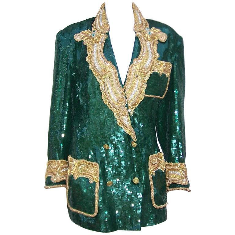 1980's Glam Emerald Sequin Boyfriend Jacket With Amazing Gold Braid 1