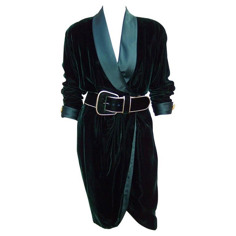 1980's Donna Karan for Anne Klein Rich Green Velvet Dress With Gold Details For Sale