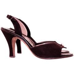 50s Brown Suede Peep-toe Slingback Heels