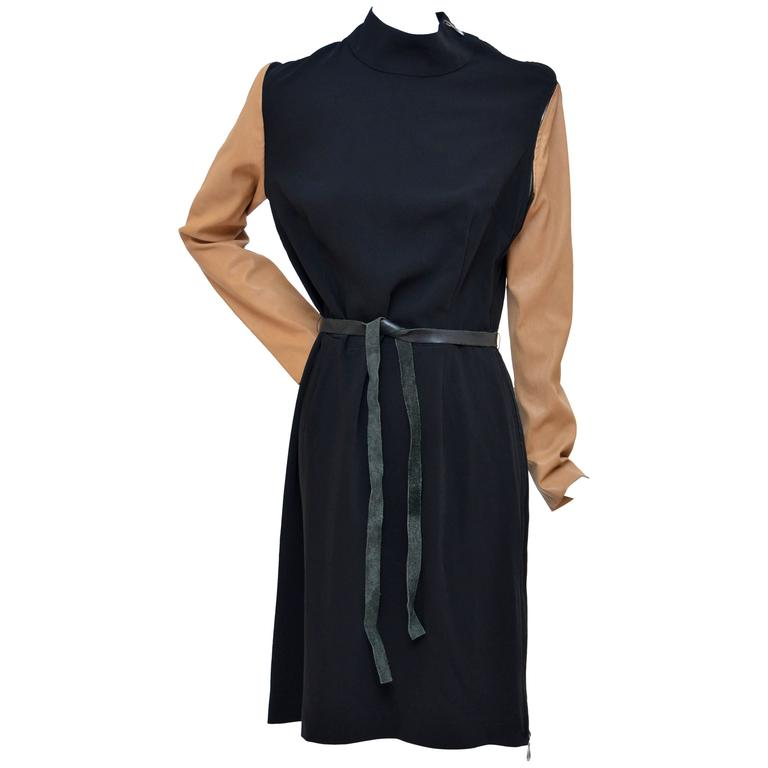 Maison Martin Margiela  2011 Black Dress with Tan Leather Sleeves