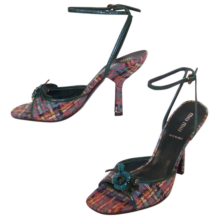 d47e5d34cd0 Never Worn Miu Miu Wool Tweed Strappy Sandals With Green Leather Details